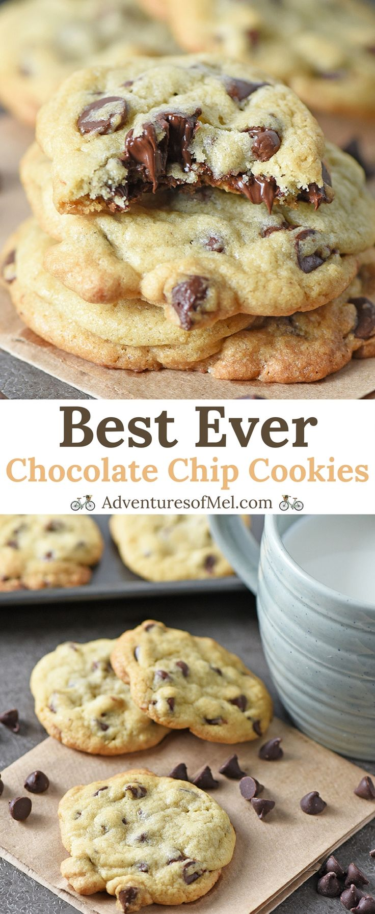 Chocolate Chip Cookies are my favorite dessert, and this easy recipe is the best chocolate chip cookie recipe ever! Make homemade chewy cookies from scratch that are slightly crispy on the edge, soft and chewy in the middle. Plus I share an easy tip for keeping them soft and chewy in the cookie jar.