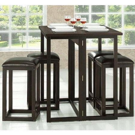 Amazon.com: Baxton Studio Leeds 5 Piece Wood Collapsible Pub Table Set,