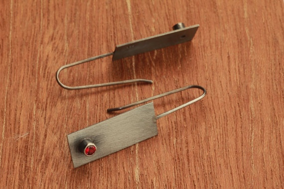 siver earrings with red garnet gemstone by bvjewelry on Etsy, $100.00