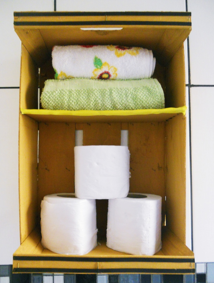 Nichos para banheiro feito com caixote de frutas  Organização  Pinterest -> Nicho Pra Banheiro