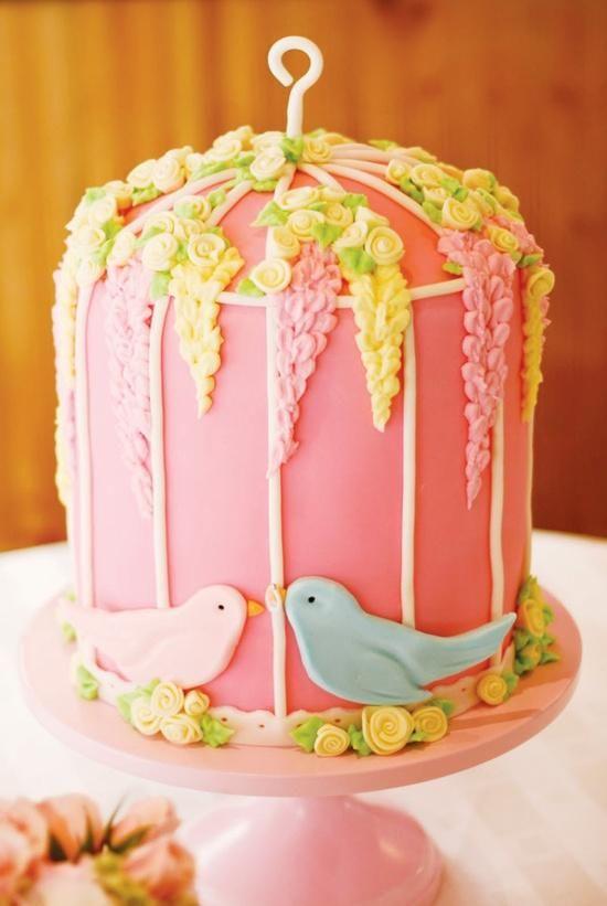 Pretty Wedding Cakes | Weddbook / Cake / Drip Cake / Pretty Pink Birdcage Wedding Cake with ...