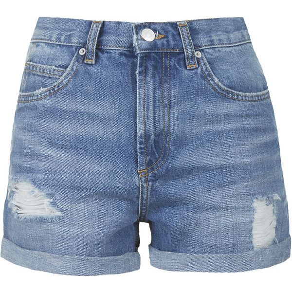 TOPSHOP TALL Mid-Stone Rosa Denim Shorts ($52) ❤ liked on Polyvore featuring shorts, bottoms, pants, short, mid stone, destroyed denim shorts, distressed jean shorts, torn jean shorts, tall shorts and denim shorts