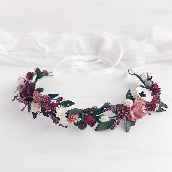 Blumenkrone, Burgund Blumenkrone, Herbst Hochzeit Blumenkrone, Braut Blumenkrone, Eukalyptus Kopfschmuck – ❧❧кгäภzє❧❧