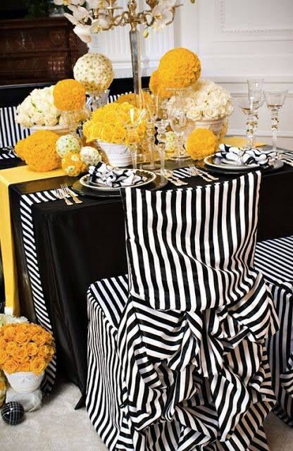 Black White And Yellow Table Setting Interiors