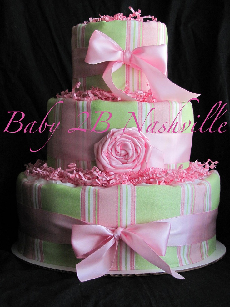 Pink and green stripe girls diaper cake baby shower for Pink diaper bouquet