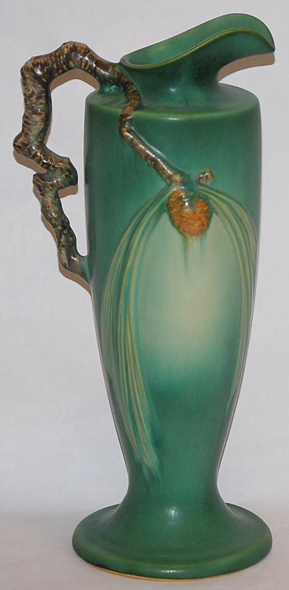 Roseville Pottery Pine Cone Green Ewer 851-15 from Just Art Pottery