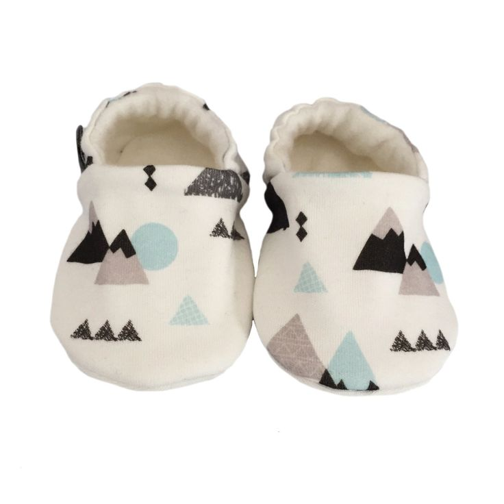 ORGANIC Baby Pram Shoes Slippers in Blue Black & Grey MOUNTAINS - A Modern Eco Baby Gift Idea from BellaOski 0-18M by bellaoski on Etsy