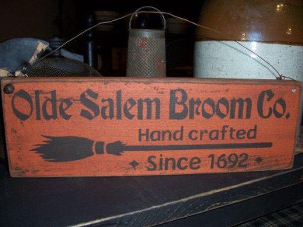 Primitive Halloween Olde Salem Broom Co. Handpainted Wood Sign by DaisyPatchPrimitives on Etsy https://www.etsy.com/listing/105150428/primitive-halloween-olde-salem-broom-co
