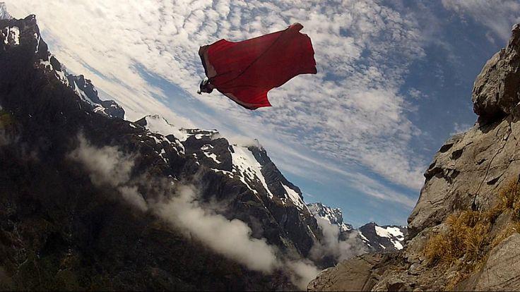 Base jumping, wingsuit, fiordland New Zealand.