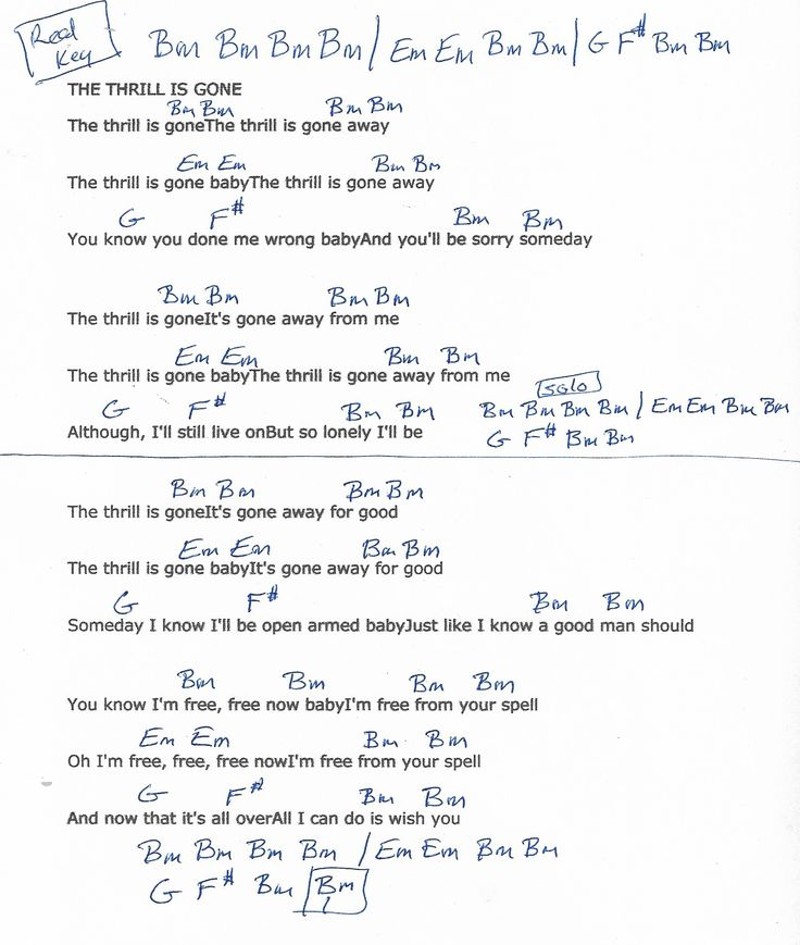 the thrill is gone chords and lyrics bb king