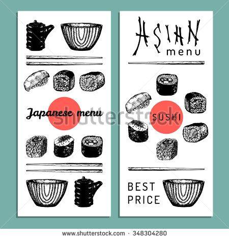 Vector hand drawn asian menu illustration. Vector sushi set. Japanese food menu. Asian menu design. Sushi, rolls, soy sauce, soup, chopsticks illustration. - stock vector