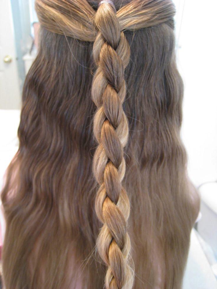 Half up four strand round braid