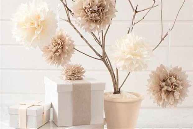 Árvore com Flores de Papel de Seda Aulas de Artesanato, Dicas e Ideias.