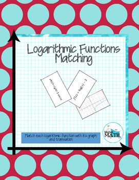 Logarithmic Functions Matching is an interactive and hands on way for students to practice identifying translations and graphs of logarithmic functions. Students match each logarithmic function card to its graph card and translation card. This activity can be used in a variety of ways including as an interactive notebook page, class pairs activity, homework assignment, or individual assessment of student understanding.   Included in this download: - 18 cards (6 functions, 6 graphs, and 6…