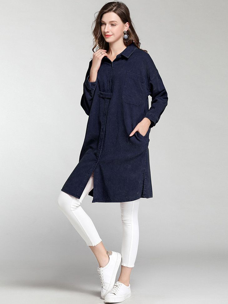 010fe1aae1e NEW SHERRY's Modern Dress-Length Tunic Top with Pockets in 2019   Tops &  Tees   Tunic tops, Tops, Collar shirts