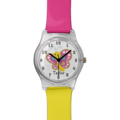 Cute Funny Cartoon Butterfly Personalized Wristwatch - teenager birthday gift idea present teens party