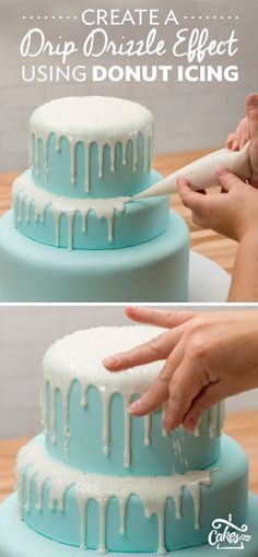 The key to a perfect drizzle effect is donut icing and sanding sugar. Shown on a Disney Frozen Cake - full tutorial at Cakes.com