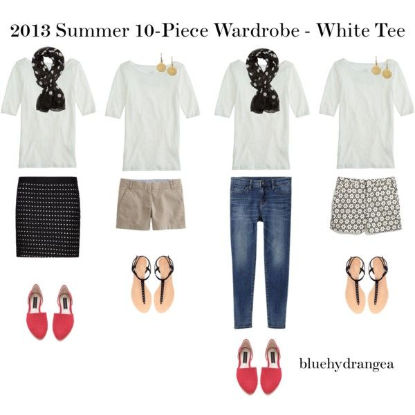 """Summer Wardrobe - White Tee"" by bluehydrangea on Polyvore"
