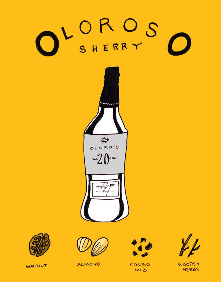 Snowflake Wine #2:  Oloroso Sherry is a deep smoky fortified and oxidized white wine that is a deep mahogany color.  Some of the best ones are dry in style and are reminiscent of fine scotch.    #LearnWine #Wine101 #Sherry #WineLover #Art #Illustration