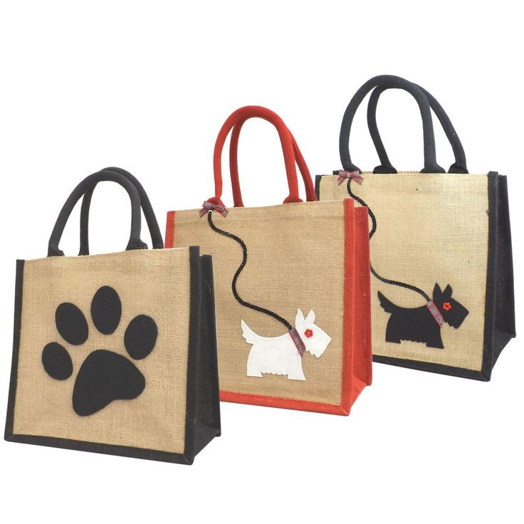 Jute Hessian Medium Shopping Bag - Scottie / Westie Dog on Sequin Lead