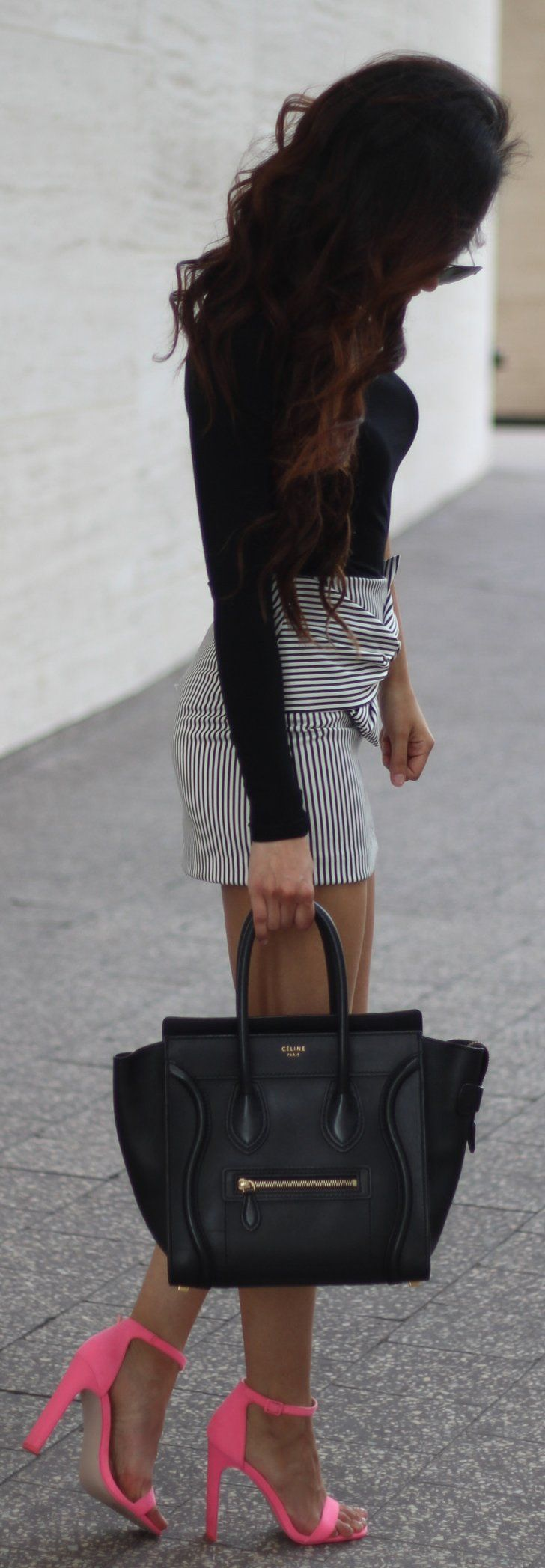#summer #outfits Black Top + Striped Skirt + Pink Sandals