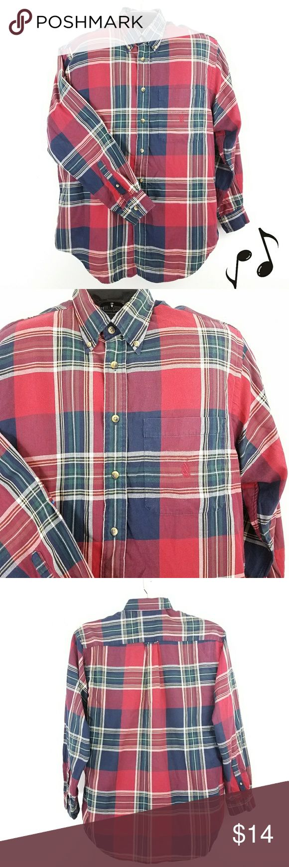 Nautica Men's Cotton Plaid Shirt please compare measurements with a garment that fits you well measured flat Chest 25 neck 17 Shoulder 21 Length 32 lightweight brushed cotton fabric Red/blue/white Button Front. Matched left breast pocket. long sleeve/single button cuff Shirt-tail hem. Button down collar. Machine Wash good condition  2017448 Nautica Shirts Casual Button Down Shirts