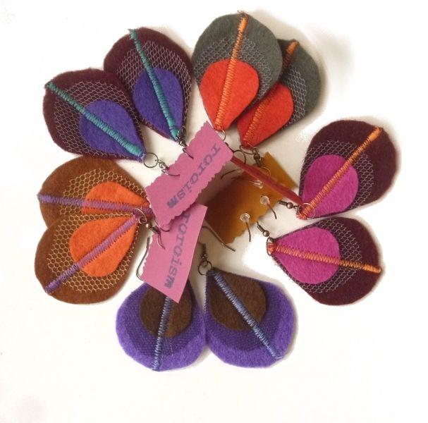 Felt Earrings – Felt peacock feather earrings - Berry Rainbow – a unique product by roroism on DaWanda