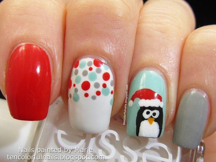 13 best Christmas Penguin Nail Art Designs images on ...