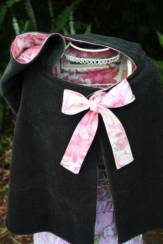 Lined Corderoy Hooded Cape by tasha2shoes on Etsy, $39.99