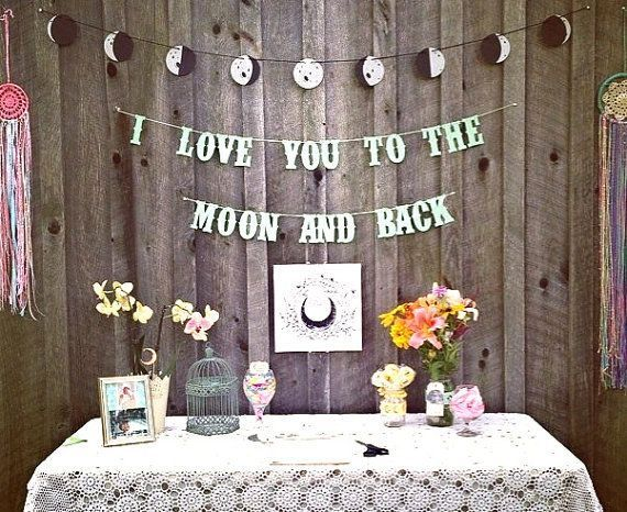 Hang a banner with all the phases of the moon. | 21 Stellar Ideas For An Astronomy-Themed Wedding