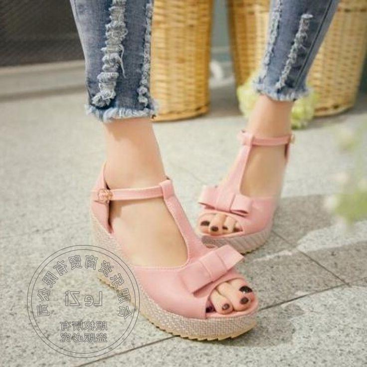 34.46$  Buy here - https://alitems.com/g/1e8d114494b01f4c715516525dc3e8/?i=5&ulp=https%3A%2F%2Fwww.aliexpress.com%2Fitem%2FPu-Daily-Flatform-Cute-Wedge-Teenage-Girls-Small-Fresh-Clasp-Soft-Leather-Plain-Red-High-Heel%2F32738308671.html - Pu Daily Flatform Cute Wedge Teenage Girls Small Fresh Clasp Soft Leather Plain Red High Heel Shoes Sweet Pu Lolita 34.46$