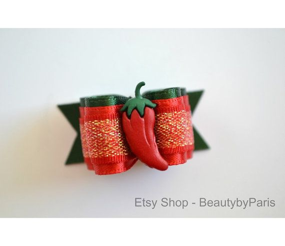 Cinco de Mayo  Chilli Peper 5/8 Dog Bow by BeautybyParis on Etsy
