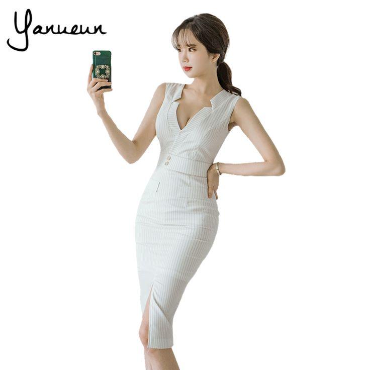 Yanueun в Корейском стиле модные женские туфли полосатом платье карандаш Летние пикантные Офисные женские туфли разрезом спереди Bodycon Платья Миди платье с вырезами купить на AliExpress