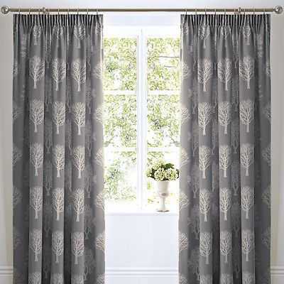 "TREES WOODLAND TREE FOREST 3"" TAPE TOP FULLY LINED PAIR READY MADE CURTAINS"