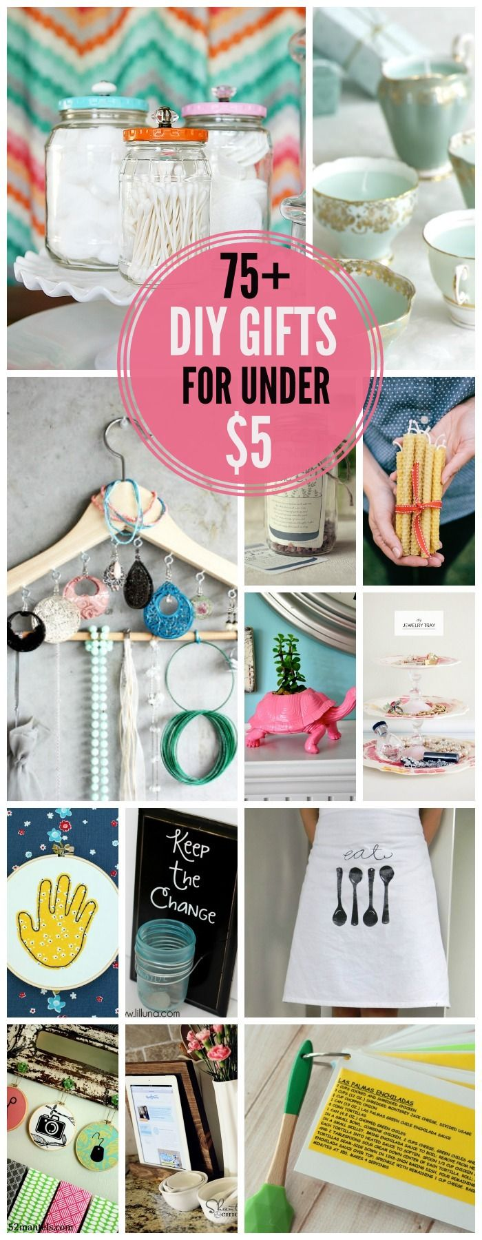 75+ DIY Gift Ideas for under $5 // Like this list. A lot of practical, easy to do projects.