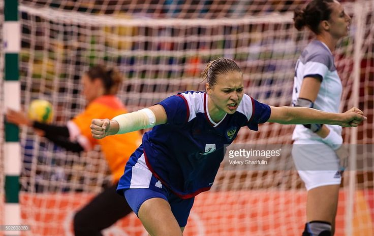 Russia's Daria Dmitriyeva in action in the women's handball final match against France at Future Arena at the 2016 Summer Olympic Games. Russia won 22-19. Valery Sharifulin/TASS