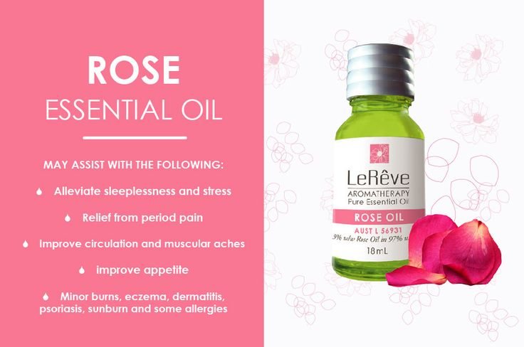 Rose essential oil may assist with the following: alleviate sleeplessness and stress, relief from period pain, improve circulation and muscular aches, improve appetite, minor burns, eczema, demerits, psoriasis, sunburn and some allergies. All Le Reve essential oils are listed on the Australian Register of Therapeutic Goods (ARTG). Available at http://www.lereve.com.au/aroma/Mix-Your-Own and http://www.aromatherapy.net.au/mix-your-own/?cat=pure-essential-oils
