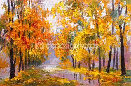 olaj festmény tájkép - őszi erdő, lehullott levelek, színes kép, rajz absztrakt teljes — Stock Image #75470441