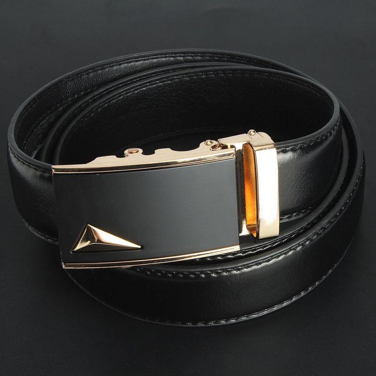 Men Second Floor Cowhide Gold Alloy Adjustable Automatic Buckle Belt Length Randomly at Banggood