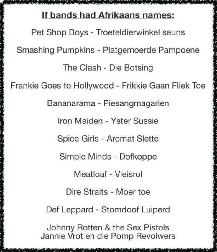 Afrikaans songs