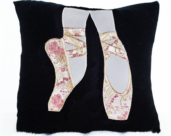 A stunning addition to any ballerinas bedroom. The ballet shoes are available in gold and pink flowered brocade; red and gold flowered brocade; multi-coloured pink fabric; soft pink satin; bubblegum pink brocade, lavender and pink hand dye velvet and faded denim. 12x 12 Ballet shoe pillow. Pillow cover is beautiful polyester satin with zipper. Machine wash and dry.