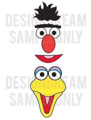 Sesame Street Elmo Cookie Monster Grouch Balloon Face Embellishments | designdream - Cards on ArtFire