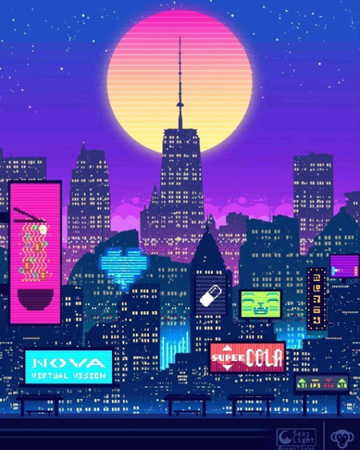 Seerlight Brandonjamesgreer Collab Pixelart Cyberpunk Illustration Vaporwave Scifi Lofi Wallpaper Aest Aesthetic Wallpapers Aesthetic Art Pixel Art