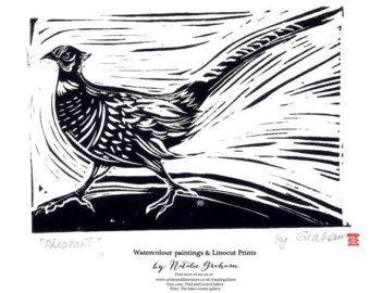 Original hand printed linocut print 'PHEASANT' lino cut block print, bird art