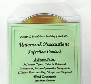 Health and Social Care Infection Control Training Resources. Covers all aspects of Universal Standard Infection Control Procedures (including Sharps and Personal Protective Equipment).Meets standards laid down by the Care Quality Commission, National Minimum and Nursing Standards. For use by care settings for induction and refresher training. Also for trainers, training agencies and for use on part time and full time courses.