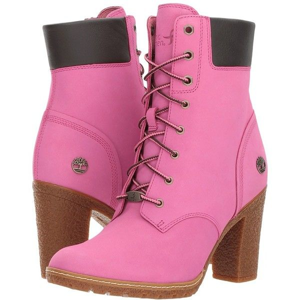 Timberland 6 Glancy Boot - Susan G. Komen (Susan G. Komen Ibis Rose... (€110) ❤ liked on Polyvore featuring shoes, boots, lug sole high heel boots, platform boots, lace-up platform boots, timberland boots and high heel platform shoes