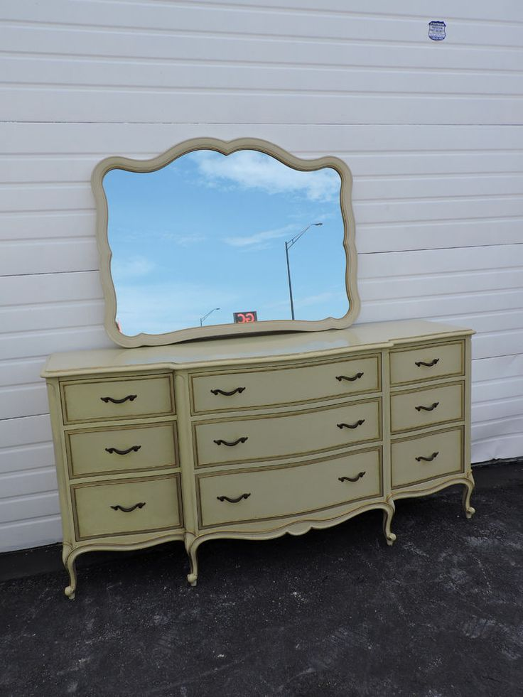 LONG FRENCH PAINTED DRESSER WITH MIRROR BY DREXEL TOURAINE ...