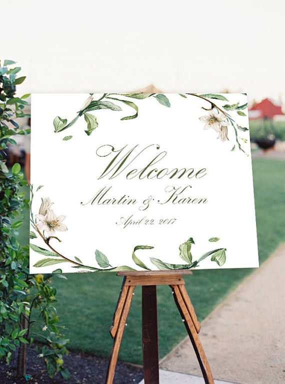 Wedding Welcome Sign Printable Floral Welcome Sign Garden Welcome Sign Leaf Welcome Sign Digital Flower Welcome T Wedding Welcome Signs Wedding Welcome Wedding