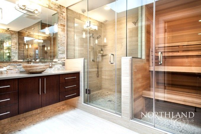 Bathroom Ideas With Sauna Shower Combo And Glass Shower Door And Tile Shower Also Vessel Sink And Floating Vanity With Pebble Stone Tile