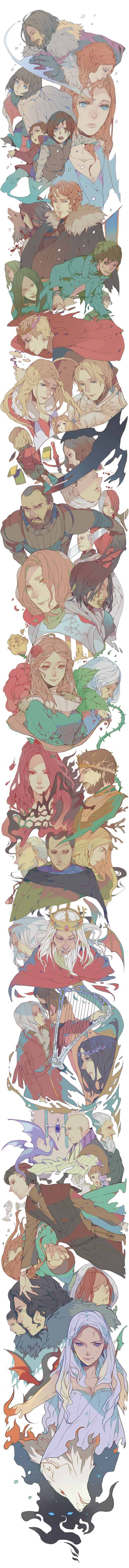 """A Game of Thrones, Manga Anime style (""""Song of Ice and Fire"""") 